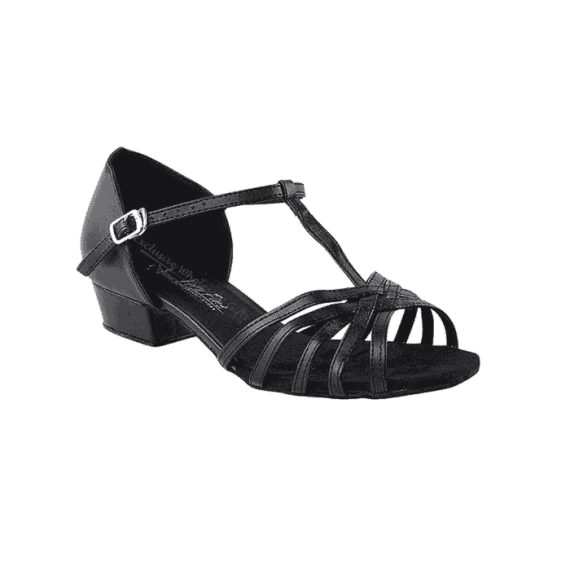 1612ft black PU Very Fine Dance Shoes for practice, ballroom, salsa, Latin, wedding, party & tango