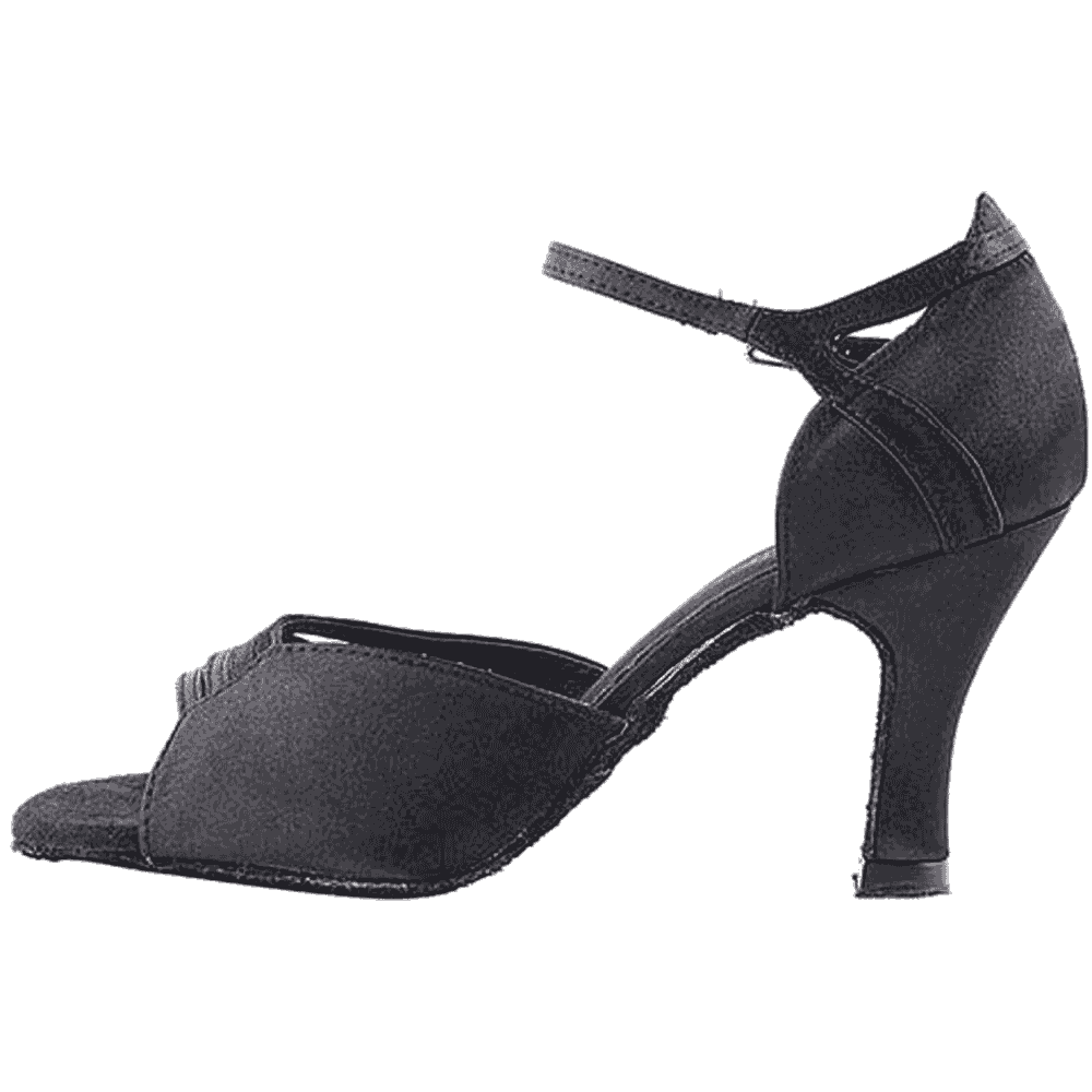 1680 Black Satin Swing  Salsa Mambo Latin Dance Shoes heel 3 Size 9 Very fine