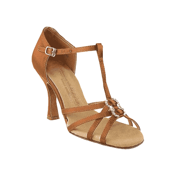 Sera1120-dark-tan t-strap shoes for ballroom, salsa, Latin, wedding, party & tango